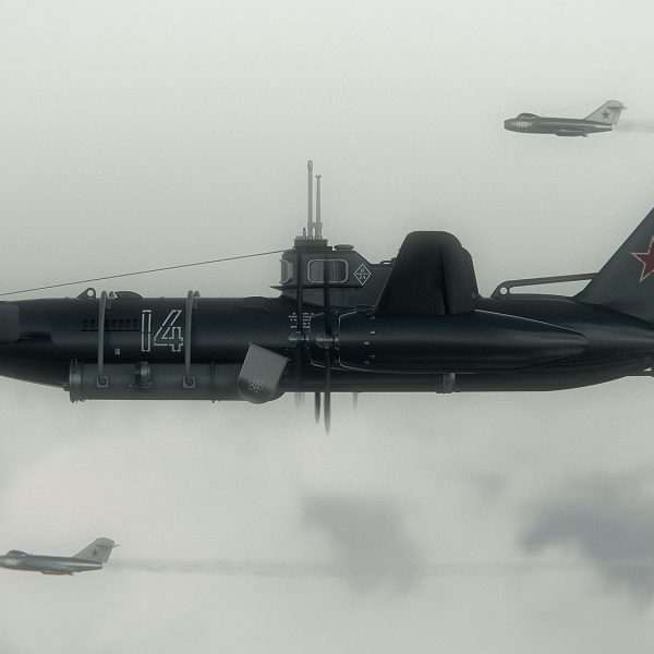 Be-15 escorted by two MiG-15s